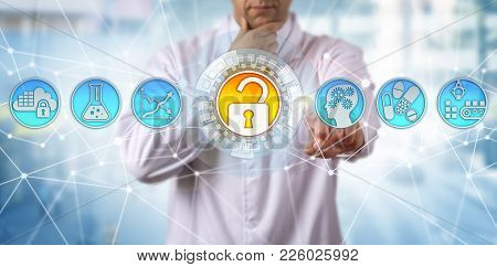 Pensive Unrecognizable Scientist In Pharmaceutical Industry Is Safeguarding Drug Quality Via Technol