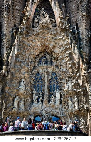 Barcelona, Spain - May 13, 2017: Architectural Details And Sculptures Of The Facade Of The Sagrada F
