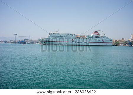 Malaga, Spain - June 24: A White Cruiser Called 100 Transmediterranea Docked In The Port At Malaga,