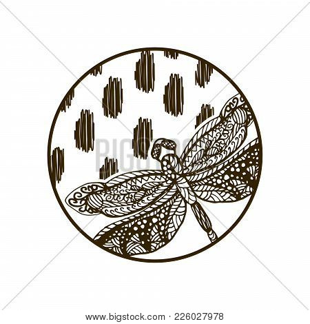 Dragonfly Hand Drawn Silhouette Round Plate Or Badge Design.