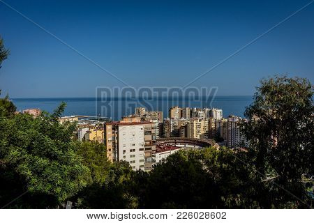 Aerial View Of Malagueta District And La Malagueta Bullring In Malaga, Spain, Europe On A Bright Sum