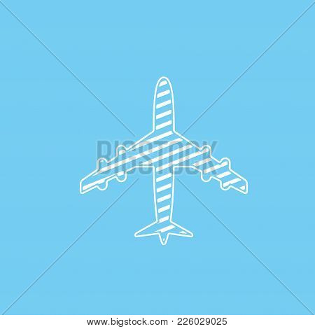 Icon Of White Lined Airplane On Blue Background Vector Illustration. Airport Icon, Airplane Shape. F