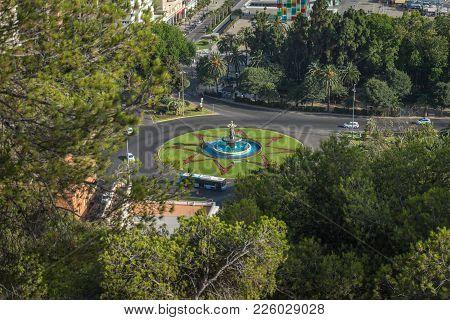 The Three Graces Fountain In Malaga. Malaga, Andalusia, Spain, Europe