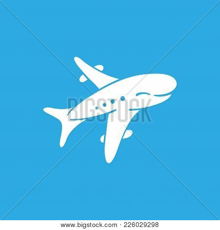 Icon Of White Realistic Airplane On Blue Background Vector Illustration. Airport Icon, Airplane Shap