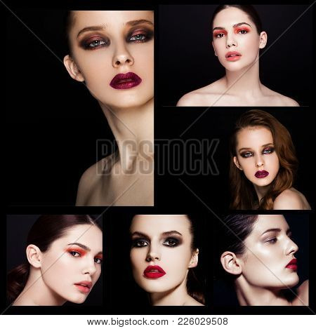 Collage Beauty Smokey Eyes Red Lips Makeup Model On Black Background