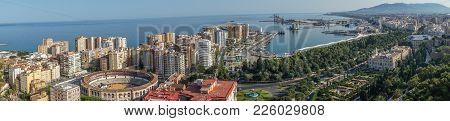 Panorama City Skyline And Harbour, Sea Port, Bullring Of Malaga Overlooking The Sea Ocean In Malaga,