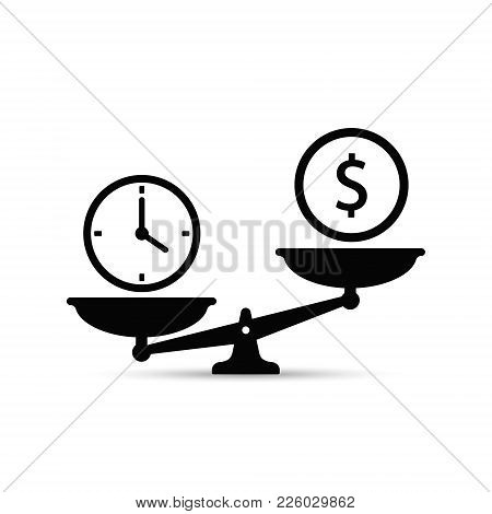 Time And Money On Scales Icon. Money And Time Balance On Scale. Weights Clock And Coin. Vector Conce