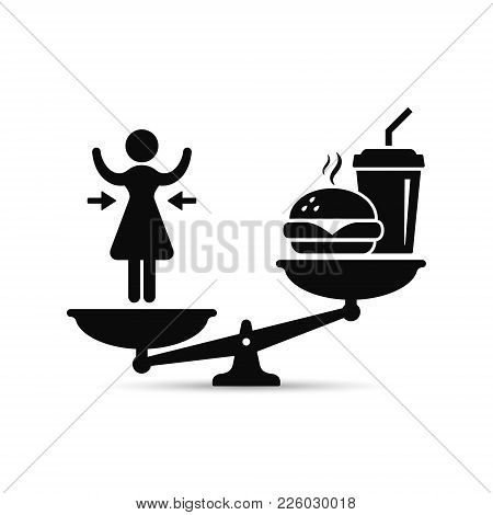 Woman And Fast Food On Scales, Vector Losing Weight Concept, Lose Weight Versus Fast Food Illustrati