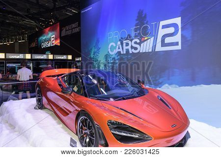 Cologne, Germany - August 24, 2017: A Red Racing Car Promotes The Game Project Cars 2 At The Booth O