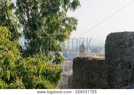 Cityscape Aerial View Of Malaga, Spain. The Cathedral Of Malaga Is A Renaissance Church In The City