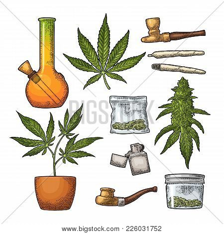 Set Marijuana. Cigarettes, Pipe, Lighter, Buds, Leaves, Bottle, Cigarette, Glass Jar, Plastic Bag, P