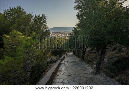 Stone Pathway Leading Down The Hill Overlooking Malaga, Spain, Europe With Trees On Either Side