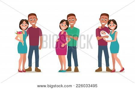 Three Stages Of Creating A Family. Couple In Love, Pregnancy, The Birth Of A Child. Color Flat Vecto