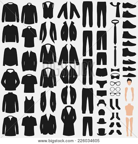 Set Of Man Fashion. Clothes Silhouette Isolated On White. Vector Clothing Design. Pants, Suit, Shirt