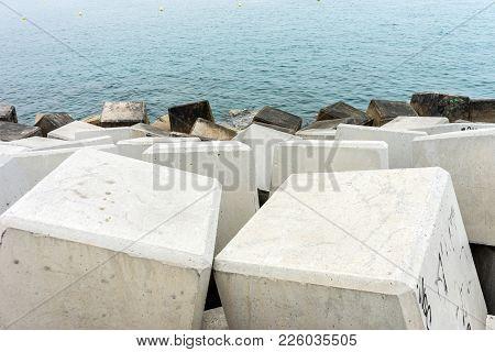 Stone Along The Malagueta Beach In Malaga, Spain, Europe