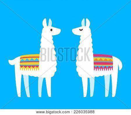 Two Cute Cartoon Llamas. South American Animal Bright And Simple Drawing. Vector Llama Couple Illust