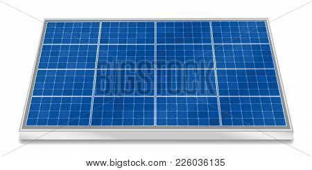 Solar Plate Collector. Three-dimensional Photovoltaic Panel, Horizontal Positioning - Isolated Vecto