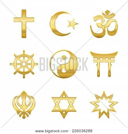 Golden World Religion Symbols. Signs Of Major Religious Groups And Religions. Christianity, Islam, H