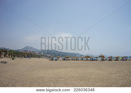 A Hill Overlooking The Sandy Malagueta Beach At Malaga, Spain, Europe