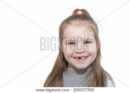 Beautiful Little Girl With The Missing Teeth,happy Smiling, Isolated On White Background For Any Pur