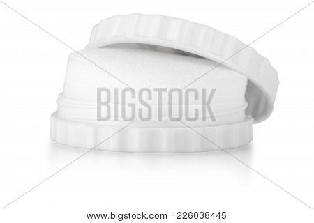 White Shoe Shine Sponge Isolated Over The White Background