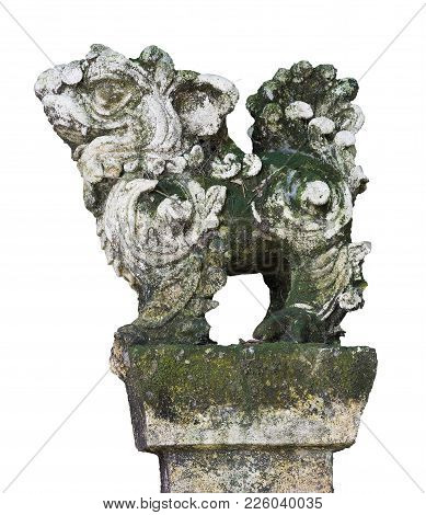 Stone Guardian Lion Statue In The Vietnamese Temples, Isolated On White Background
