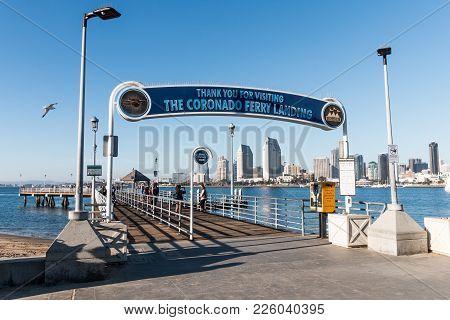 Coronado, California - February 4, 2018:  The Entrance To The Coronado Ferry Landing Dock/pier.  Peo