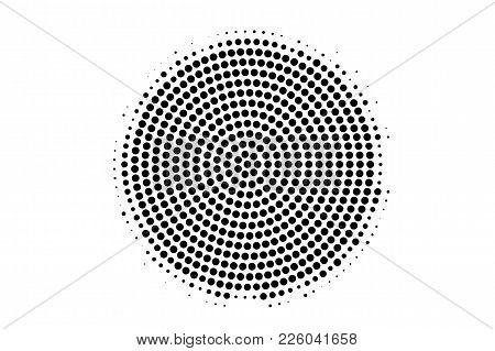 Black And White Dotted Texture. Centered Halftone Vector Background. Radial Dotted Gradient. Abstrac