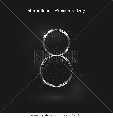 Creative 8 March Logo Vector Design With International Women's Day Background.women's Day Symbol.min