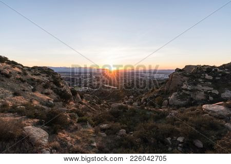 Sunrise view of the San Fernando Valley in Los Angeles California.  Shot from Rocky Peak Park near Simi Valley.
