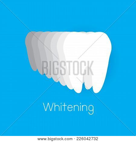 Step Of  Tooth Whitening. Icon Design, Vector Illustration. Isolated On Blue Background.