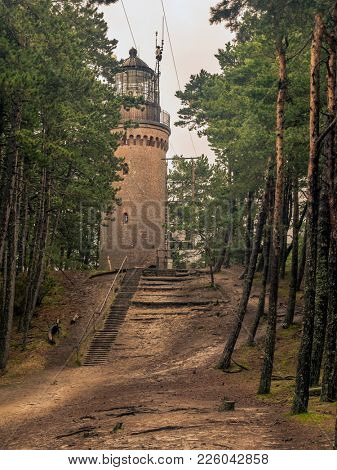 Historical Lighthouse in Czolpino, located in the Slowinski National Park, at the Baltic Sea coast, Poland