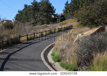 Paved Hiking Trail Curving Uphill, Wooden Railing Casting Shadow On Pavement, Fountain Grass Landsca