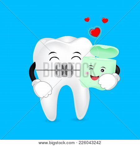 Cute Cartoon Tooth Brace  With  Dental Floss. Love Forever. Dental Care Concept, Illustration.