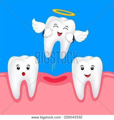 Funny Cute Tooth Fairy Flying. Happy White Tooth, Dental Care Concept. Illustration