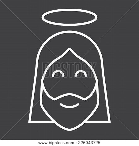 Jesus Line Icon, Easter And Holiday, Christ Sign Vector Graphics, A Linear Pattern On A Black Backgr