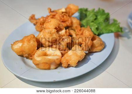Calamari Or Fried Squid Or Crisp Fried Calamari Or Thai Food
