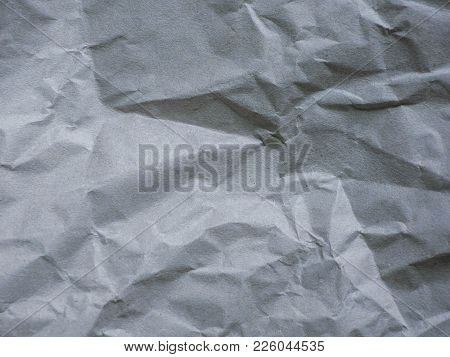 Wrinkled Gray Paper Texture, Creases Abstract Background.