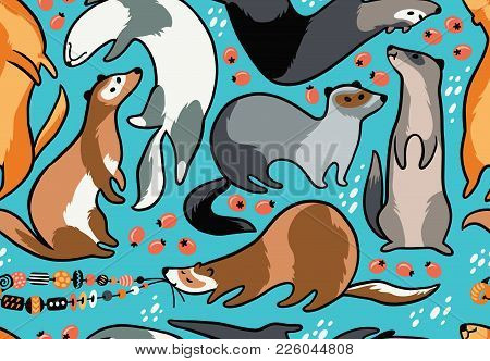 Seamless Pattern With Black, Brown And Gray Ferrets In Cartoon Style. Bright Children Cartoon Backgr