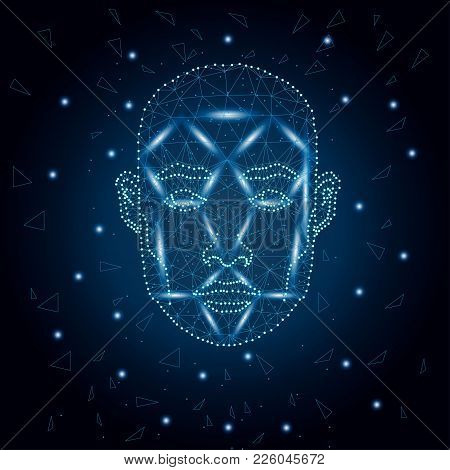Illustration Of Human Face Consisting Of Polygons, Dots And Lines, Isolated On Futurustic Blue Backg