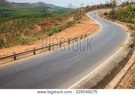 Curved Road In Tay Nguyen Highland Of Vietnam
