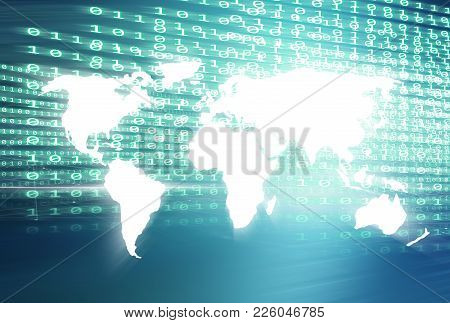 World Map With Digital Binary Codes Blue Theme Background.