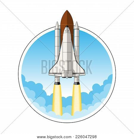 The Space Shuttle At Launch, Vector Illustration