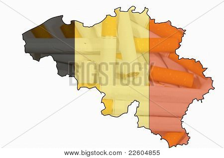 Outline Map Of Belgium With Transparent Cigarettes In Background And Belgian Flag