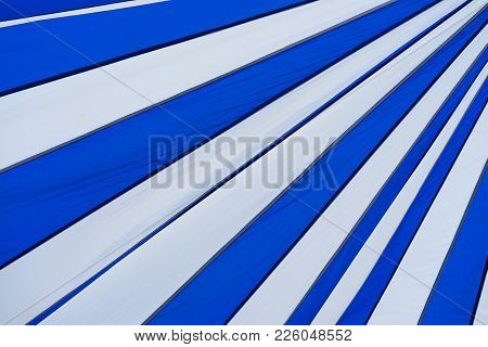 Blue And White Striped Canvas Tent Roof