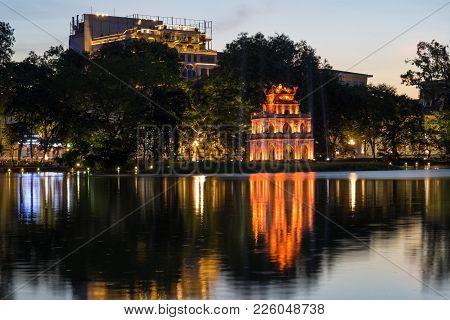 Hoan Kiem Lake With Turtle Tower Or Thap Rua At Twilight In Hanoi, Vietnam