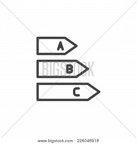 Energy Class Line Icon, Outline Vector Sign, Linear Style Pictogram Isolated On White. Energy Effici