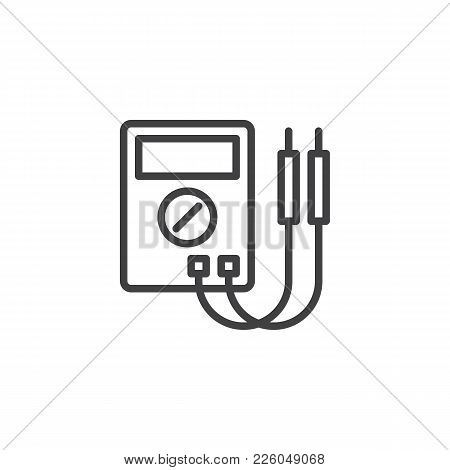 Digital Multimeter Line Icon, Outline Vector Sign, Linear Style Pictogram Isolated On White. Electri