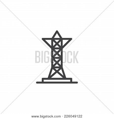 Transmission Tower Line Icon, Outline Vector Sign, Linear Style Pictogram Isolated On White. Voltage