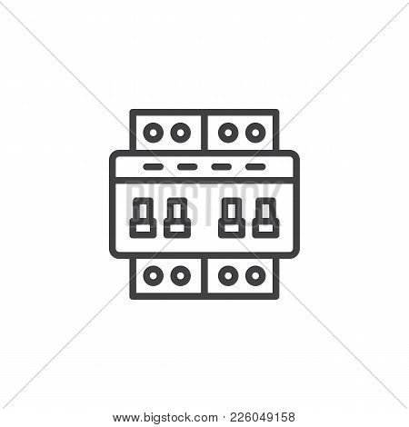 Circuit Breaker Switch Line Icon, Outline Vector Sign, Linear Style Pictogram Isolated On White. Ele
